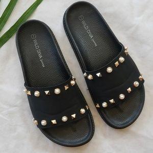 Talk about Studs! Rockstud Jeweled Slide Sandal